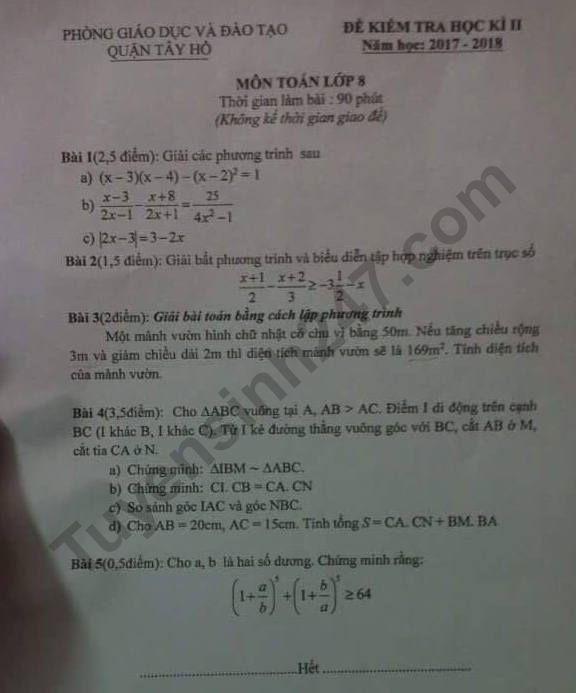 De thi ki 2 lop 8 mon Toan 2018 - Quan Tay Ho