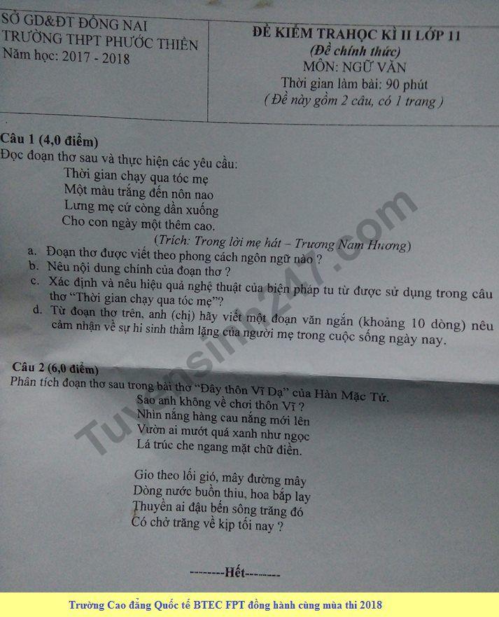 De thi hoc ki 2 lop 11 mon Van - THPT Phuoc Thien