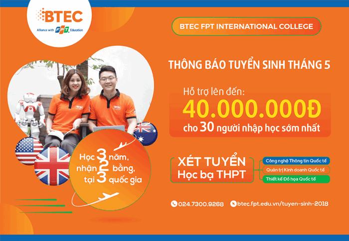 BTEC FPT thong bao tuyen sinh thang 05/2018