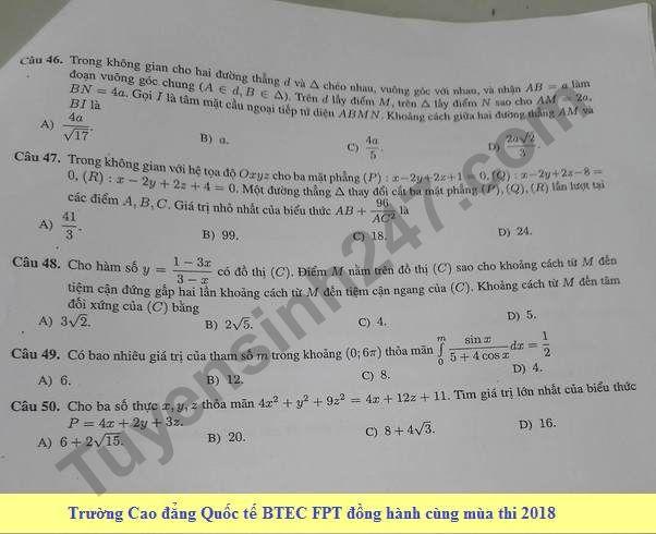 De thi thu THPT QG mon Toan lan 3 nam 2018 - THPT Chuyen KHTN