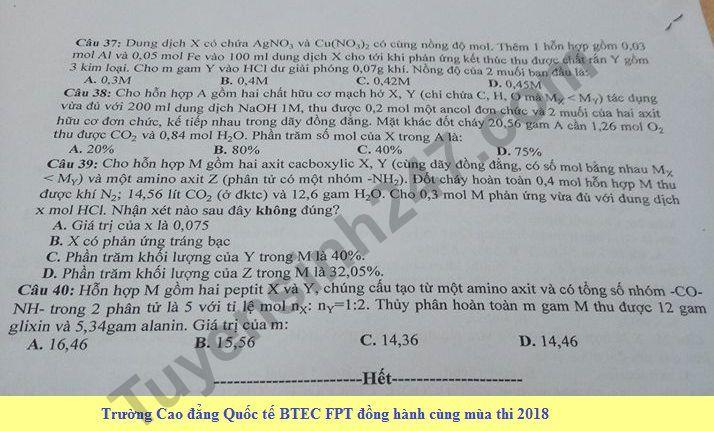 De thi hoc ki 2 lop 12 mon Hoa - THPT Tran Thanh Tong nam 2018