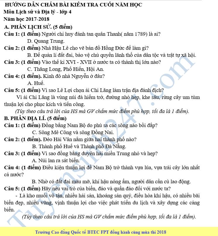 De thi hoc ki 2 lop 4 mon Su Dia - Tieu hoc Trung Vuong 2018