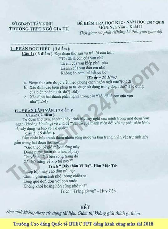 De thi hoc ki 2 lop 11 mon Van - THPT Ngo Gia Tu nam 2018