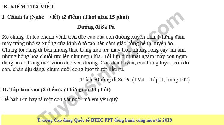 De kiem tra hoc ki 2 lop 4 mon Van - Tieu hoc Hong Quang 2018