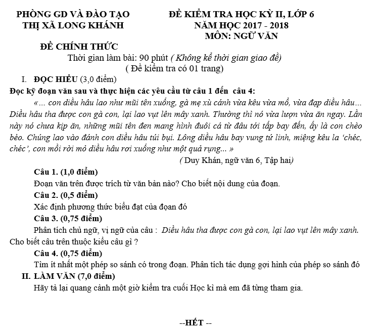 De kiem tra hoc ki 2 lop 6 mon Van - Phong GD&DT Thi Xa Long Khanh 2018
