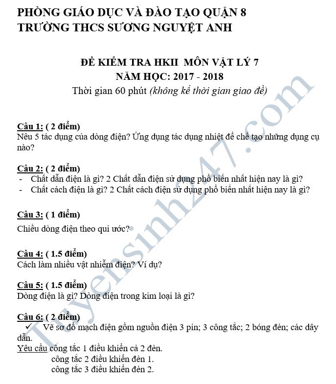 De kiem tra hoc ki 2 lop 7 mon Ly - THCS Suong Nguyet Anh 2018