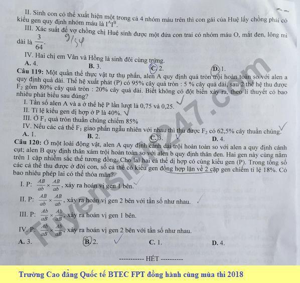 De thi thu THPT QG mon Sinh lan 3 nam 2018 - THPT Chuyen Vinh