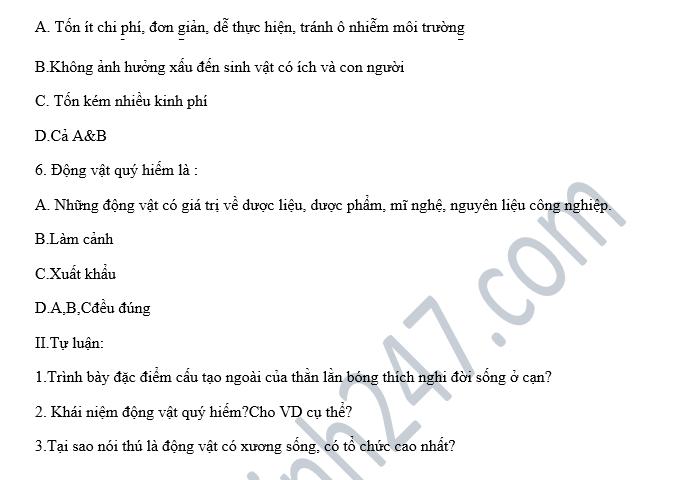 De thi hoc ki 2 lop 7 mon Sinh hoc - THCS Dong Tam nam 2018