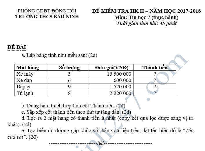 De kiem tra hoc ki 2 lop 7 mon Tin - THCS Bao Ninh 2018