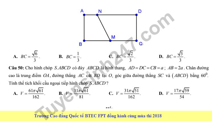 De thi thu THPT QG mon Toan lan 4 nam 2018 - THPT Que Vo 3