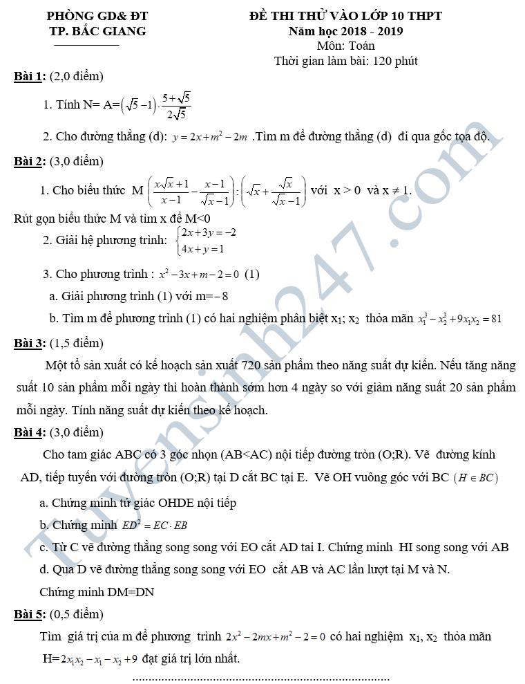 De thi thu vao lop 10 mon Toan nam 2018 - Phong GD&DT TP.Bac Giang