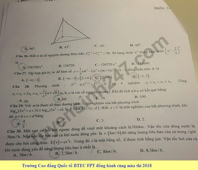 De thi thu THPT QG mon Toan lan 3 nam 2018 - THPT Chuyen Hoang Van Thu