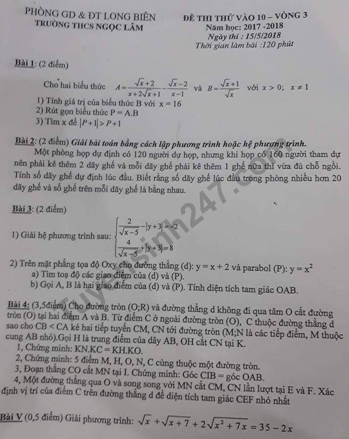 De thi thu vao lop 10 mon Toan nam 2018 - THCS Ngoc Lam
