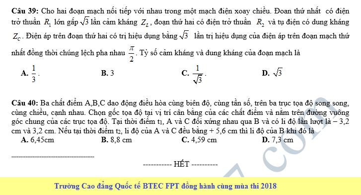 De thi thu THPT QG mon Ly nam 2018 - THPT Van Tuong