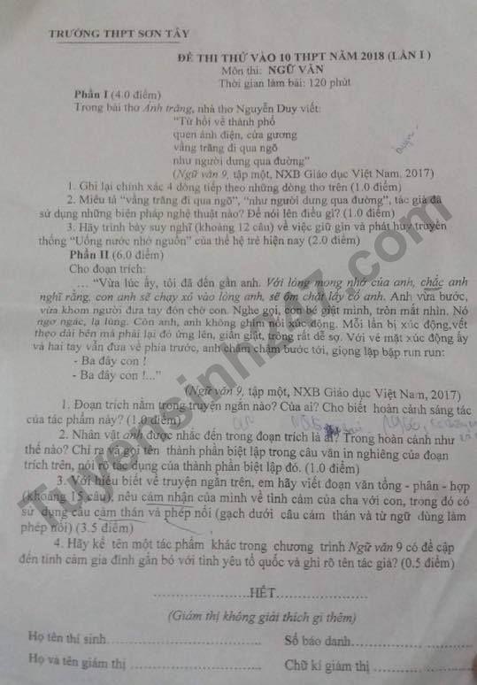 De thi thu vao lop 10 mon Van lan 1 - THPT Son Tay nam 2018