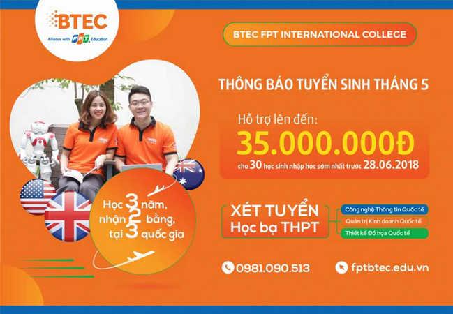 Cao dang Quoc te BTEC FPT thong bao tuyen sinh thang 06/2018