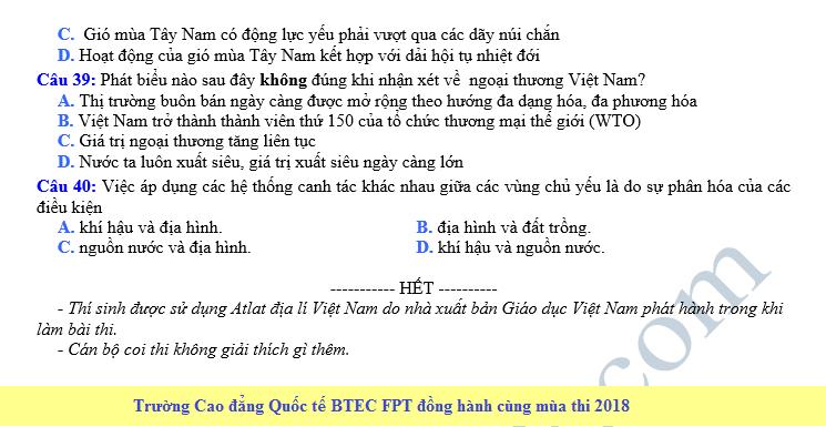 De thi thu THPT QG mon Dia nam 2018 - THPT So 3 Van Ban