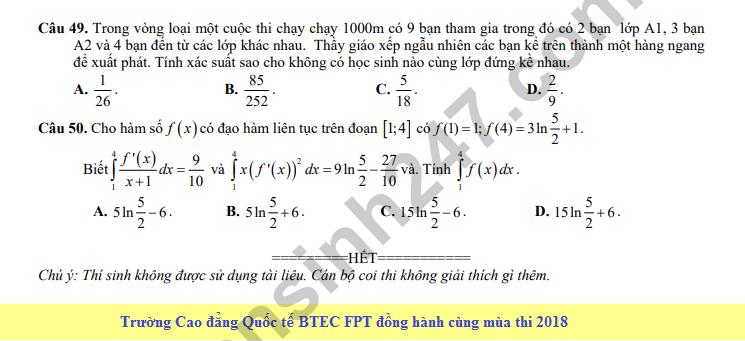 De thi thu THPT QG mon Toan nam 2018 - THPT Tran Nhan Tong