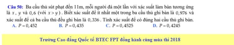 De thi thu THPT QG mon Toan - THPT Doc Binh Kieu nam 2018
