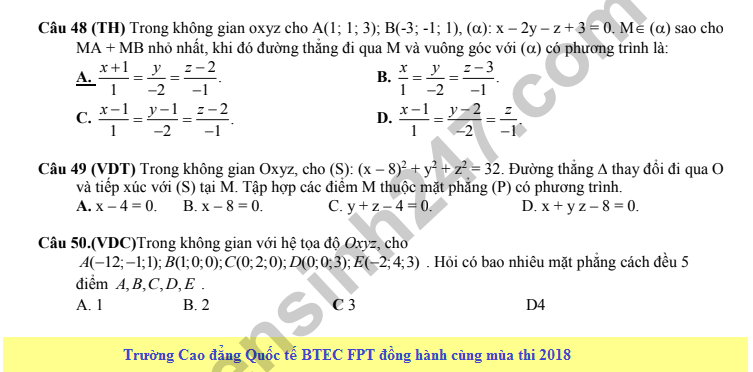 De thi thu THPT QG mon Toan lan 5 - THPT chuyen Quang Trung 2018