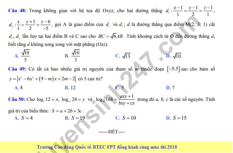 De thi thu THPT QG mon Toan lan 6 - THPT Ly Thai To 2018