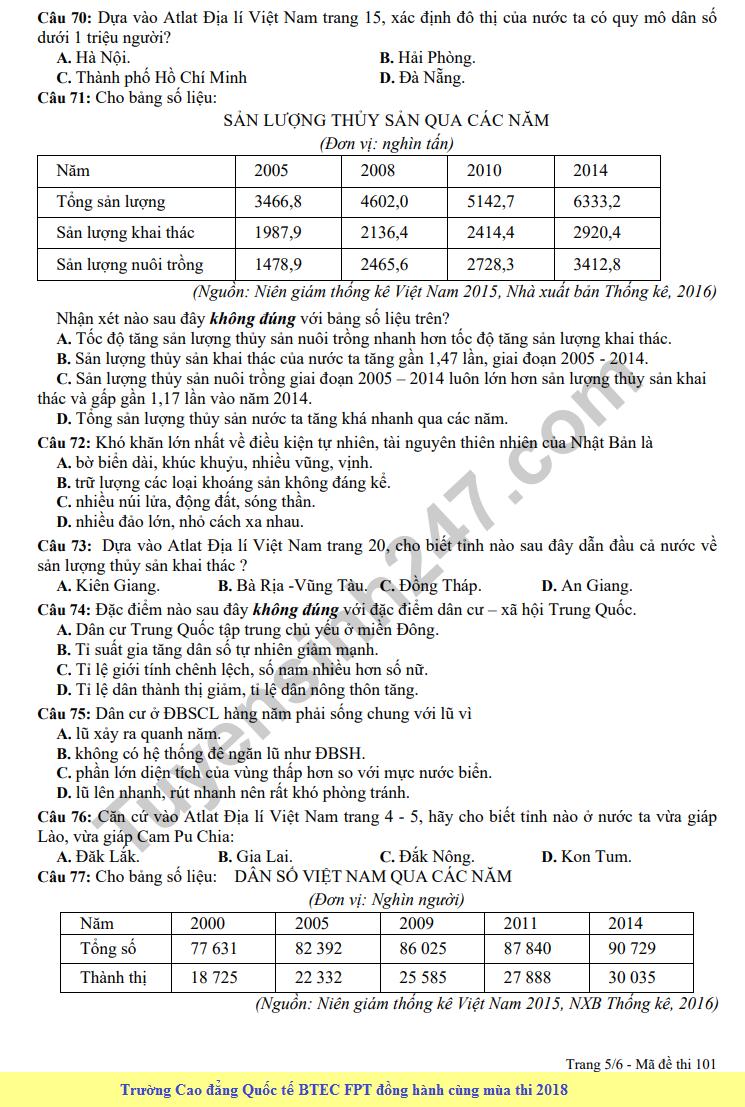 De thi thu THPT QG mon Dia lan 3 - THPT Nguyen Viet Xuan nam 2018