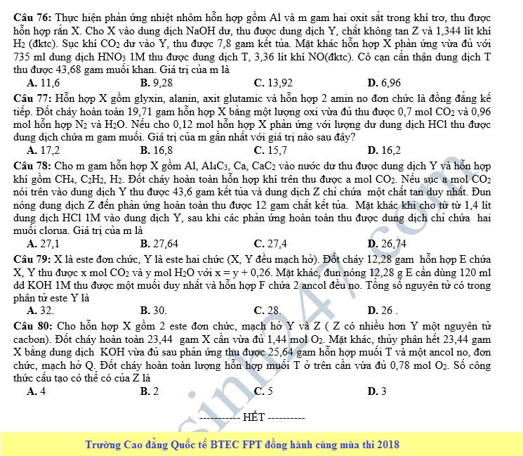 De thi thu THPT QG mon Hoa lan 4 - THPT Cam Xuyen 2018