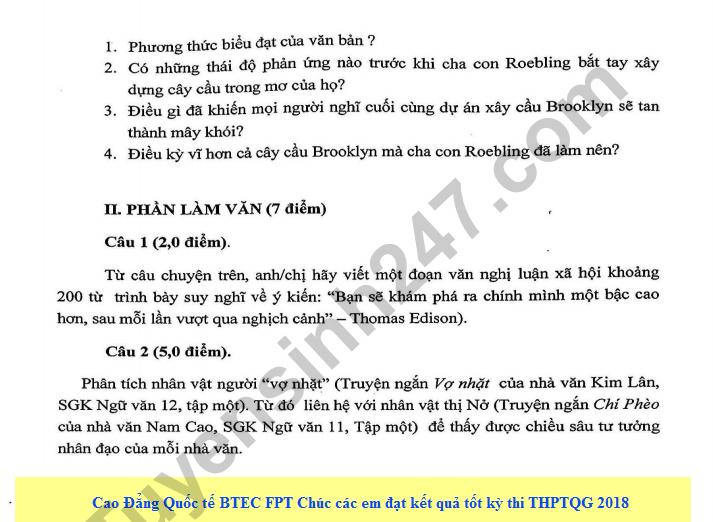 De thi thu THPT QG mon Van lan 4 - THPT chuyen DH Su Pham Ha Noi 2018