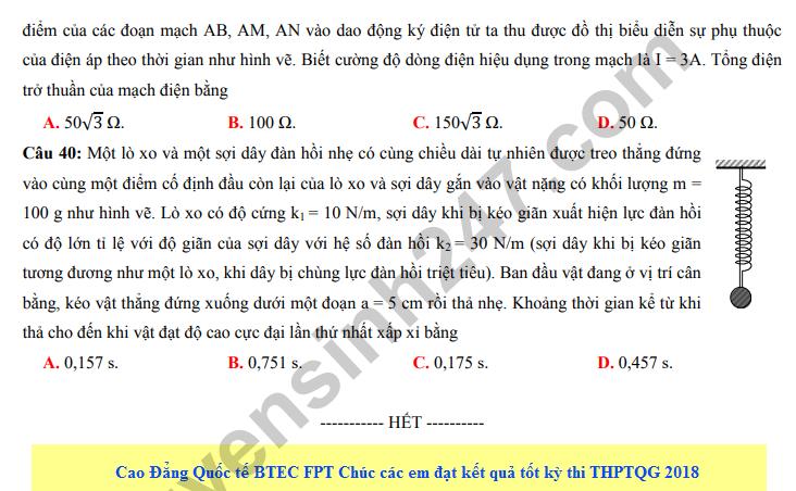 De thi thu THPT QG mon Ly lan 2 - THPT chuyen Dai hoc Vinh 2018