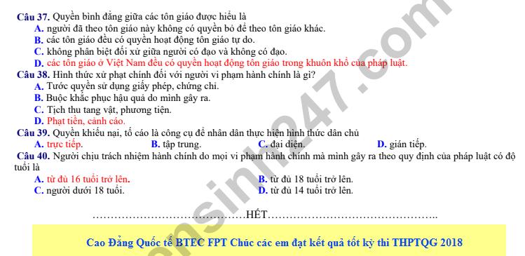 De thi thu THPT QG mon GDCD nam 2018 - THPT Hong Linh