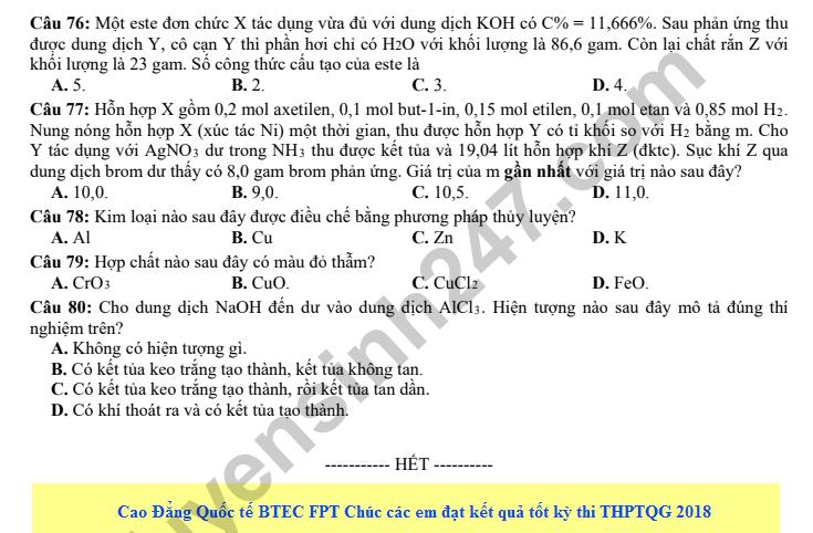 De thi thu THPT QG mon Hoa nam 2018 lan 3 - THPT Nguyen Viet Xuan