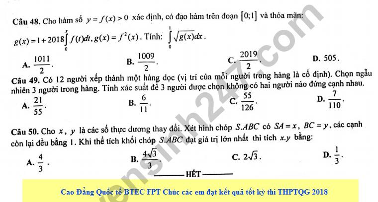 De thi thu THPT QG mon Toan lan 3 - THPT Quang Xuong 1 nam 2018