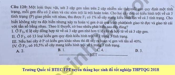 Dap an cua Bo GD de thi THPT Quoc Gia 2018 mon Sinh - ma de 211