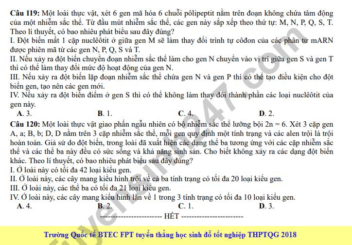 Dap an cua Bo GD de thi THPT Quoc Gia 2018 mon Sinh - ma de 214