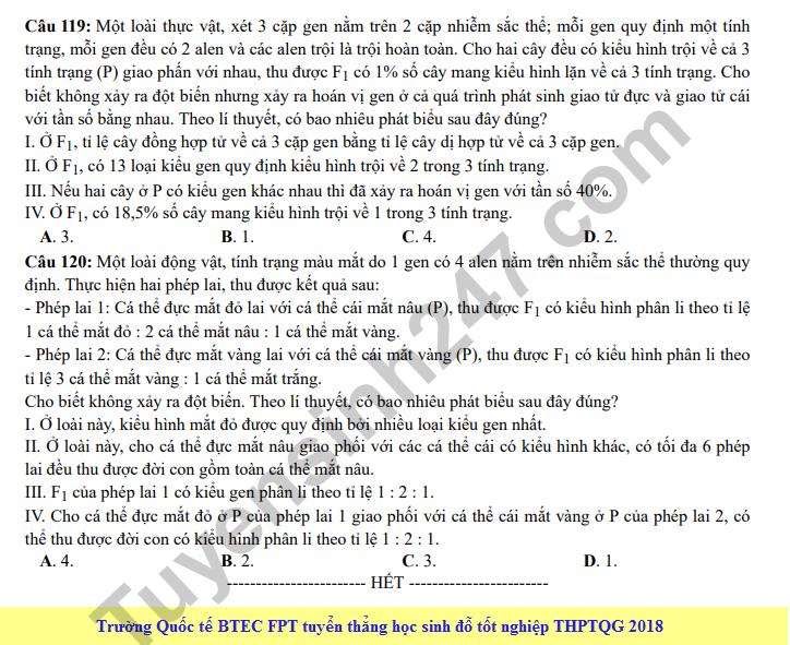 Dap an cua Bo GD de thi mon Sinh THPT Quoc Gia nam 2018-ma de 215