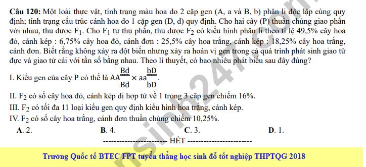 Dap an cua Bo GD de thi mon Sinh THPT Quoc Gia 2018 - ma de 219