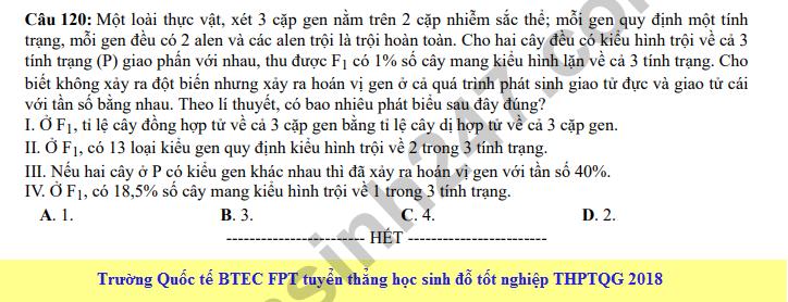 Dap an cua Bo GD de thi mon Sinh THPT Quoc Gia nam 2018 - ma de 223