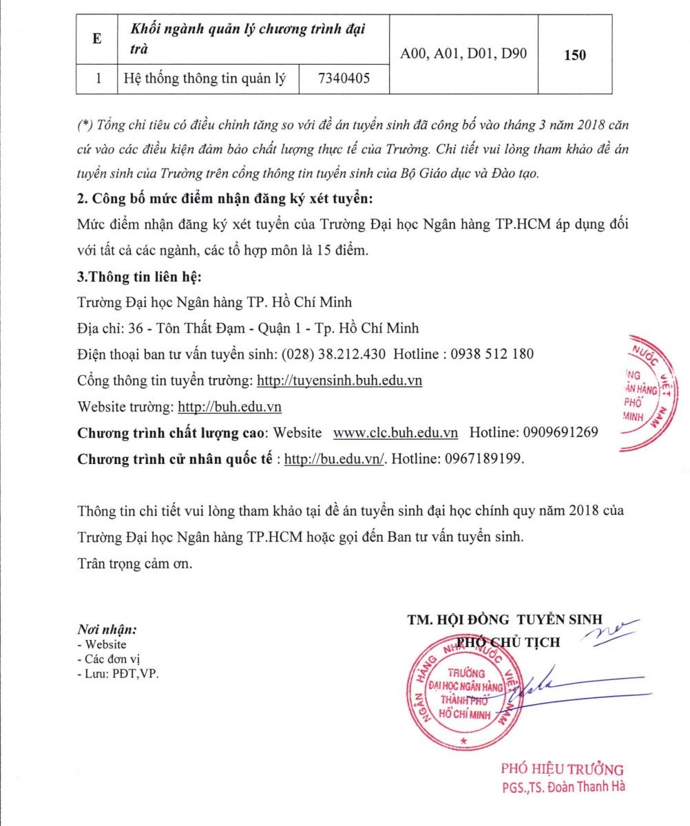 DH Ngan Hang HCM cong bo muc diem xet tuyen 2018