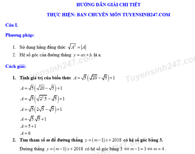 Dap an de thi tuyen sinh vao lop 10 mon Toan tinh Bac Giang nam 2018