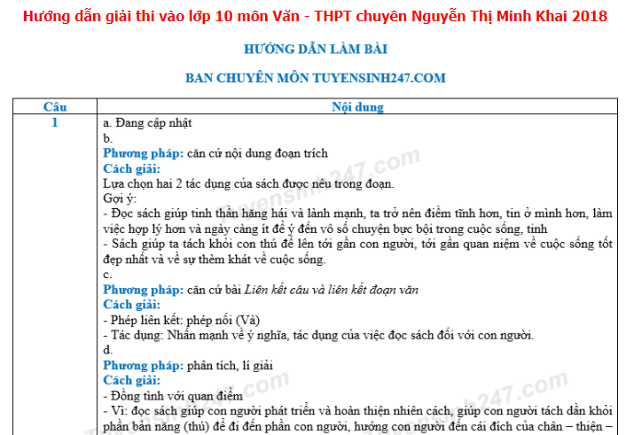 Dap an de thi vao lop 10 mon Van - THPT chuyen Nguyen Thi Minh Khai 2018