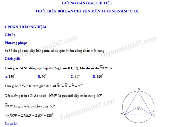 Dap an de thi tuyen sinh vao lop 10 mon Toan Hung Yen nam 2018