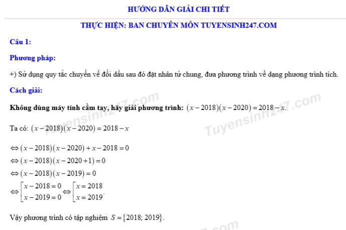 Dap an de thi vao lop 10 mon Toan tinh Thai Nguyen 2018