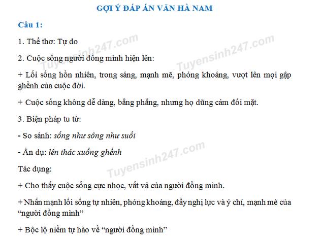 Dap an de thi vao lop 10 mon van tinh Ha Nam 2018