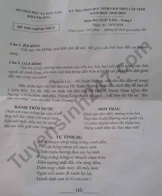 De thi chon hoc sinh gioi THPT cap tinh 2019 mon Van vong 1 - Khanh Hoa