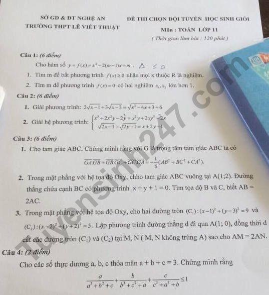 De thi chon hoc sinh gioi lop 11 mon Toan - THPT Le Viet Thuat