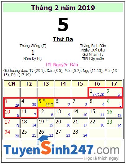 Lich nghi tet Ky Hoi 2019 cua hoc sinh Ha Tinh