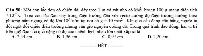 De thi thu THPT QG mon Ly lan 1 nam 2019 - THPT Doan Thuong