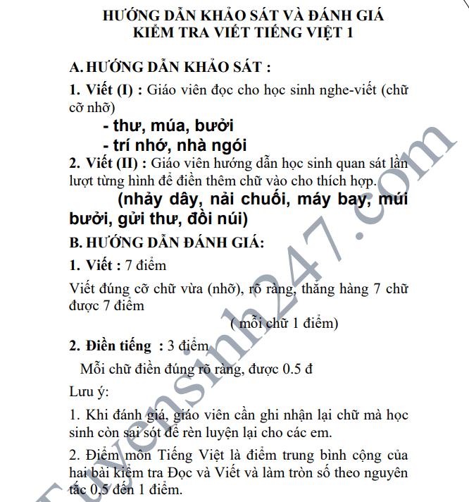 De kiem tra giua hoc ky 1 lop 1 mon Tieng Viet - Tieu hoc Hoa Lac B 2018