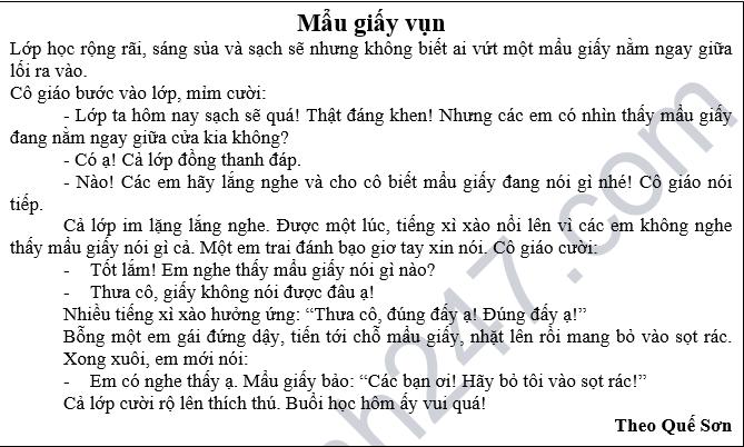 De kiem tra giua hoc ky 1 lop 2 mon Tieng Viet - Tieu hoc so 2 Son Thanh Dong 2018