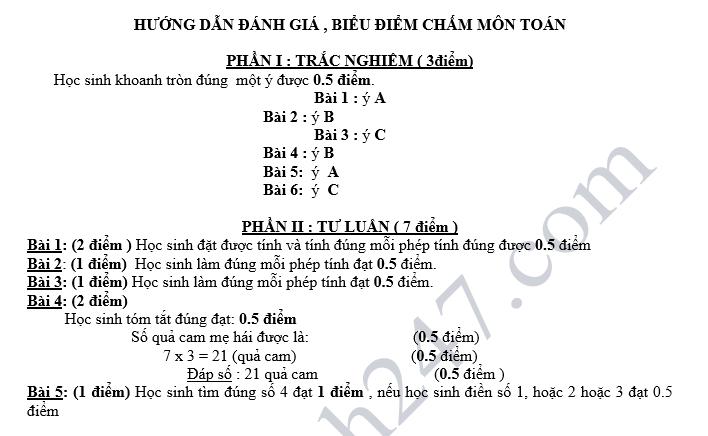 De thi giua hoc ki 1 lop 3 mon Toan - Tieu hoc Bac Hung nam 2018